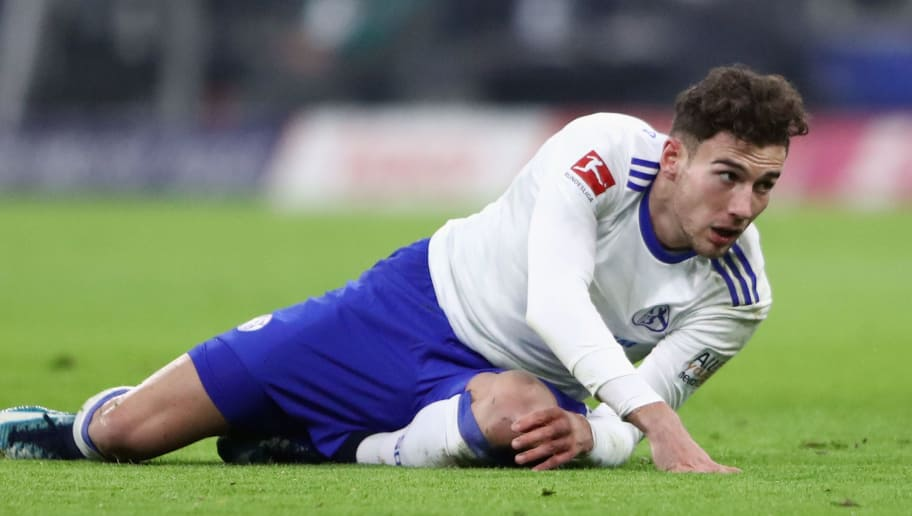 MUNICH, GERMANY - FEBRUARY 10: Leon Goretzka of Schalke reacts during the Bundesliga match between FC Bayern Muenchen and FC Schalke 04 at Allianz Arena on February 10, 2018 in Munich, Germany.  (Photo by Alex Grimm/Bongarts/Getty Images)