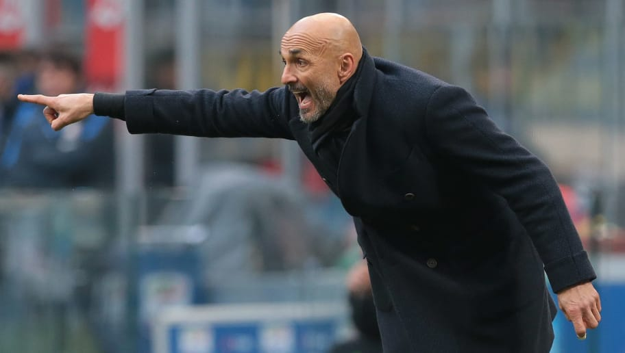 MILAN, ITALY - FEBRUARY 11:  FC Internazionale Milano coach Luciano Spalletti shouts to his players during the serie A match between FC Internazionale and Bologna FC at Stadio Giuseppe Meazza on February 11, 2018 in Milan, Italy.  (Photo by Emilio Andreoli/Getty Images)