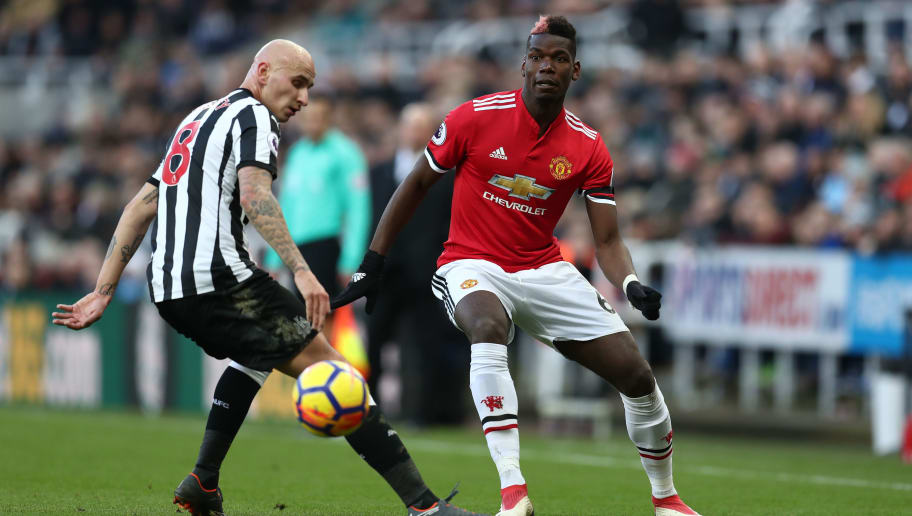 NEWCASTLE UPON TYNE, ENGLAND - FEBRUARY 11: Paul Pogba of Manchester United during the Premier League match between Newcastle United and Manchester United at St. James Park on February 11, 2018 in Newcastle upon Tyne, England. (Photo by Catherine Ivill/Getty Images)