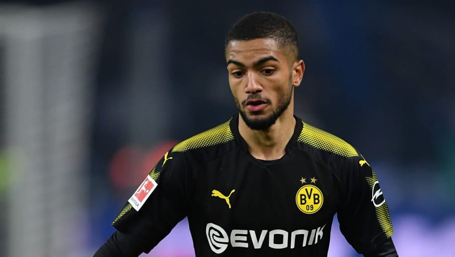 BERLIN, GERMANY - JANUARY 19:  Jeremy Toljan of Dortmund in action during the Bundesliga match between Hertha BSC and Borussia Dortmund at Olympiastadion on January 19, 2018 in Berlin, Germany.  (Photo by Stuart Franklin/Bongarts/Getty Images)
