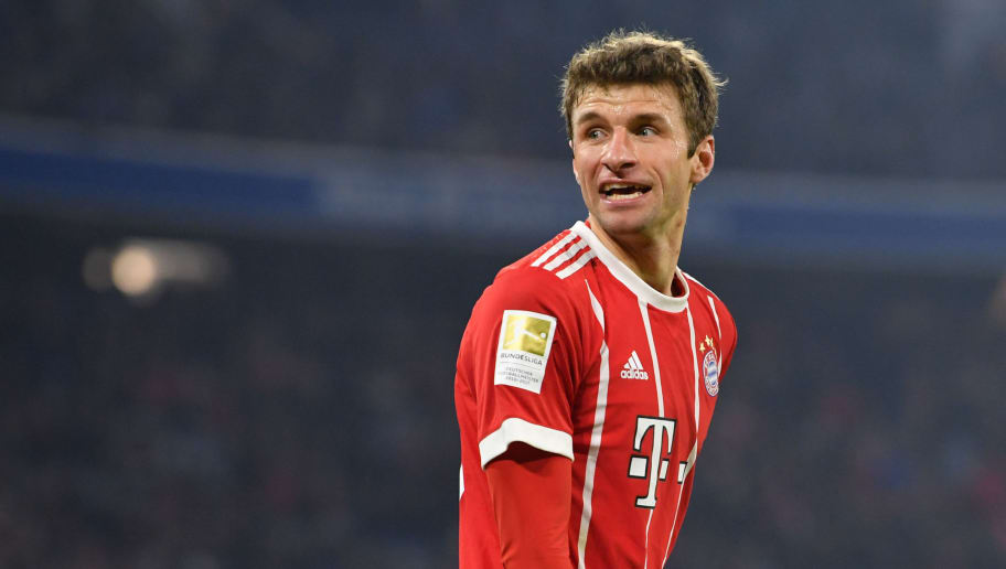 MUNICH, GERMANY - FEBRUARY 10: Thomas Mueller of Bayern Muenchen looks on during the Bundesliga match between FC Bayern Muenchen and FC Schalke 04 at Allianz Arena on February 10, 2018 in Munich, Germany. (Photo by Sebastian Widmann/Bongarts/Getty Images)