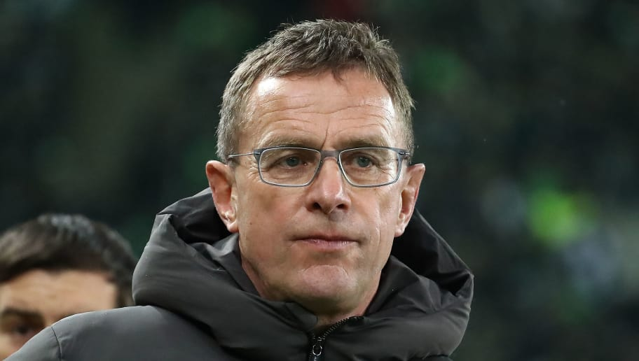 MOENCHENGLADBACH, GERMANY - FEBRUARY 03: Sporting director Ralf Rangnick of Leipzig looks on before the Bundesliga match between Borussia Moenchengladbach and RB Leipzig at Borussia-Park on February 3, 2018 in Moenchengladbach, Germany. (Photo by Christof Koepsel/Bongarts/Getty Images)