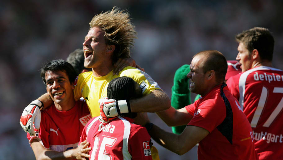 STUTTGART, GERMANY - MAY 19:  Keeper Timo Hildebrand of Stuttgart celebrates winning the championship after the final whistle of the Bundesliga match between VfB Stuttgart and Energie Cottbus at the Gottlieb Daimler stadium on May 19, 2007 in Stuttgart, Germany.  (Photo by Vladimir Rys/Bongarts/Getty Images)