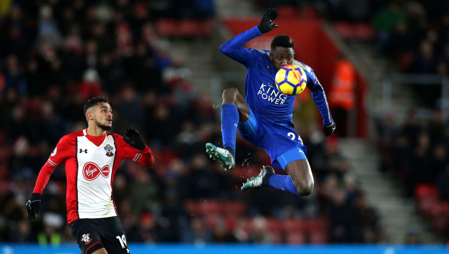 SOUTHAMPTON, ENGLAND - DECEMBER 13: Wilfred Ndidi of Leicester City controls the ball in mid air during the Premier League match between Southampton and Leicester City at St Mary's Stadium on December 13, 2017 in Southampton, England.  (Photo by Steve Bardens/Getty Images)