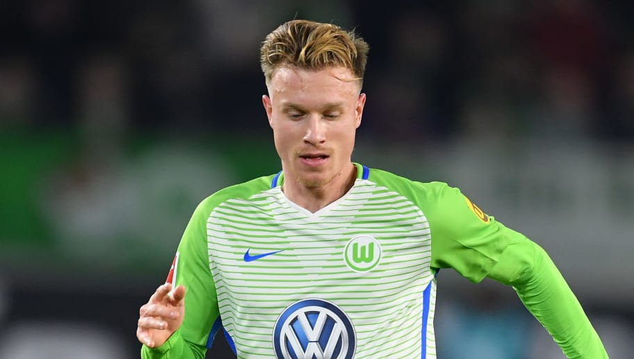 WOLFSBURG, GERMANY - NOVEMBER 18:  Yannick Gerhardt of Wolfsburg in action during the Bundesliga match between VfL Wolfsburg and Sport-Club Freiburg at Volkswagen Arena on November 18, 2017 in Wolfsburg, Germany.  (Photo by Stuart Franklin/Bongarts/Getty Images)