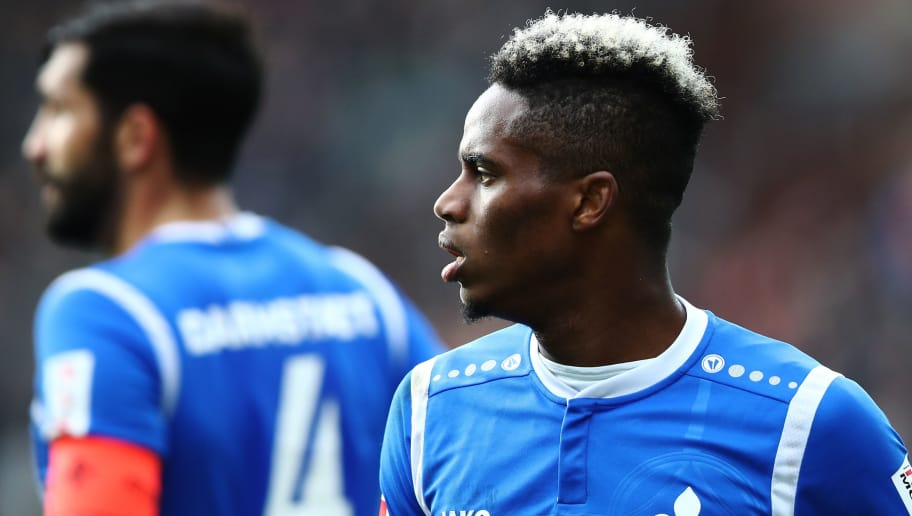 HAMBURG, GERMANY - JANUARY 28:  Joevin Jones of Darmstadt in action during the Second Bundesliga match between FC St. Pauli and SV Darmstadt 98 at Millerntor Stadium on January 28, 2018 in Hamburg, Germany.  (Photo by Oliver Hardt/Bongarts/Getty Images)