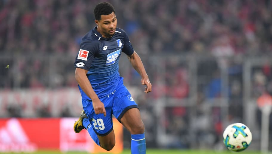 MUNICH, GERMANY - JANUARY 27: Serge Gnabry of Hoffenheim plays the ball during the Bundesliga match between FC Bayern Muenchen and TSG 1899 Hoffenheim at Allianz Arena on January 27, 2018 in Munich, Germany. (Photo by Sebastian Widmann/Bongarts/Getty Images)