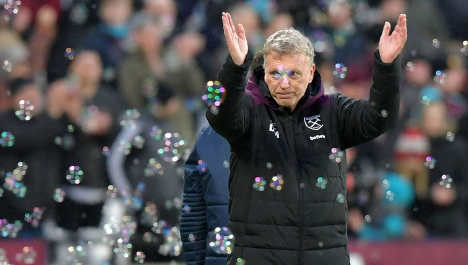 West Ham United's Scottish manager David Moyes celebrates their win after the English Premier League football match between West Ham United and Watford at The London Stadium, in east London on February 10, 2018. West Ham won the game 2-0. / AFP PHOTO / OLLY GREENWOOD / RESTRICTED TO EDITORIAL USE. No use with unauthorized audio, video, data, fixture lists, club/league logos or 'live' services. Online in-match use limited to 75 images, no video emulation. No use in betting, games or single club/league/player publications.  /         (Photo credit should read OLLY GREENWOOD/AFP/Getty Images)