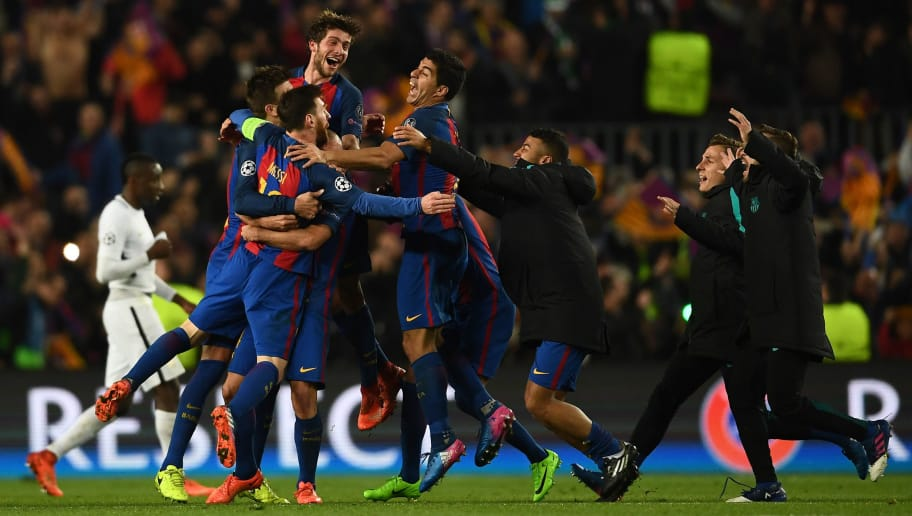 BARCELONA, SPAIN - MARCH 08: Lionel Messi,Sergio Roberto and Luis Suarez of Barcelona celebrate on the final whistle during the UEFA Champions League Round of 16 second leg match between FC Barcelona and Paris Saint-Germain at Camp Nou on March 8, 2017 in Barcelona, Spain.  (Photo by Laurence Griffiths/Getty Images)