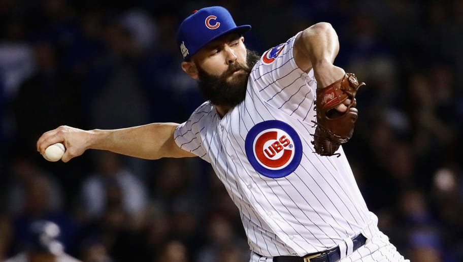 CHICAGO, IL - OCTOBER 18:  Jake Arrieta #49 of the Chicago Cubs pitches in the first inning against the Los Angeles Dodgers game four of the National League Championship Series at Wrigley Field on October 18, 2017 in Chicago, Illinois.  (Photo by Jonathan Daniel/Getty Images)