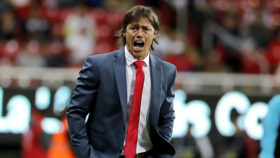 Guadalajara´s coach Matias Almeyda reacts in a match against Santos, during their Mexican Clausura 2018 tournament football match at the Akron stadium in Guadalajara, Jalisco State, on February 10, 2018. / AFP PHOTO / ULISES RUIZ        (Photo credit should read ULISES RUIZ/AFP/Getty Images)