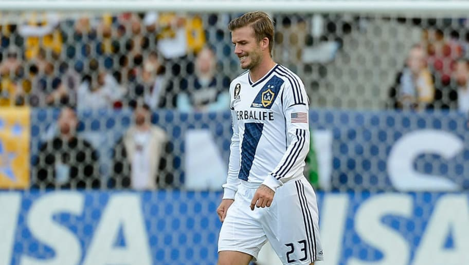 CARSON, CA - DECEMBER 01:  David Beckham #23 of Los Angeles Galaxy looks on while taking on the Houston Dynamo in the 2012 MLS Cup at The Home Depot Center on December 1, 2012 in Carson, California.  (Photo by Kevork Djansezian/Getty Images)
