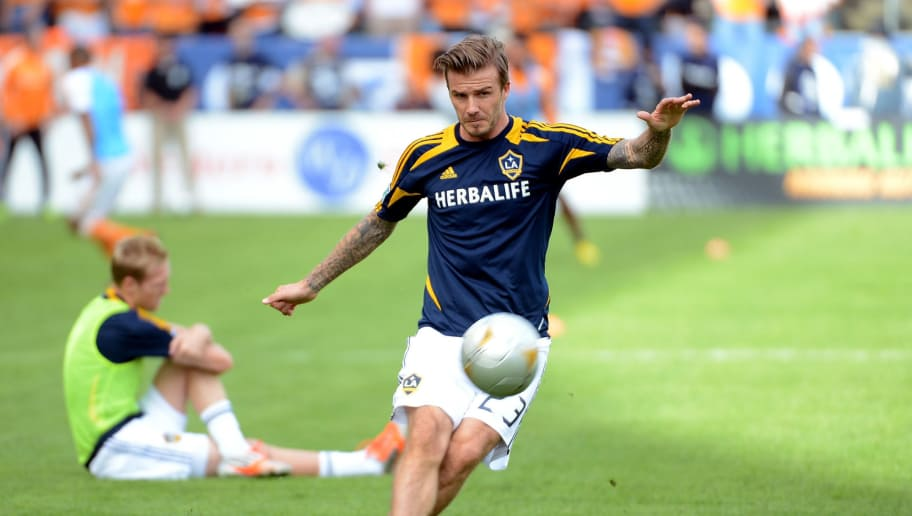 CARSON, CA - DECEMBER 01:  David Beckham #23 of Los Angeles Galaxy warms up before taking on the Houston Dynamo in the 2012 MLS Cup at The Home Depot Center on December 1, 2012 in Carson, California.  (Photo by Harry How/Getty Images)