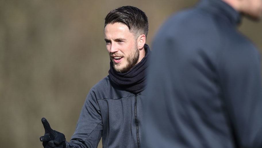 Basel's Dutch forward Ricky Van Wolfswinkel gestures during a training session on February 12, 2018, in Basel, on the eve of the UEFA Champions League round of 16 football between Basel and Manchester City. / AFP PHOTO / SEBASTIEN BOZON        (Photo credit should read SEBASTIEN BOZON/AFP/Getty Images)