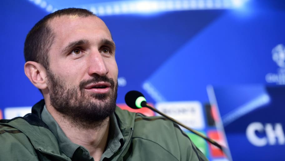 Juventus' Italian defender Giorgio Chiellini holds a press conference in Turin, on February 12, 2017, on the eve of the UEFA Champions League round of 16 football match between Juventus and Tottenham. / AFP PHOTO / MIGUEL MEDINA        (Photo credit should read MIGUEL MEDINA/AFP/Getty Images)