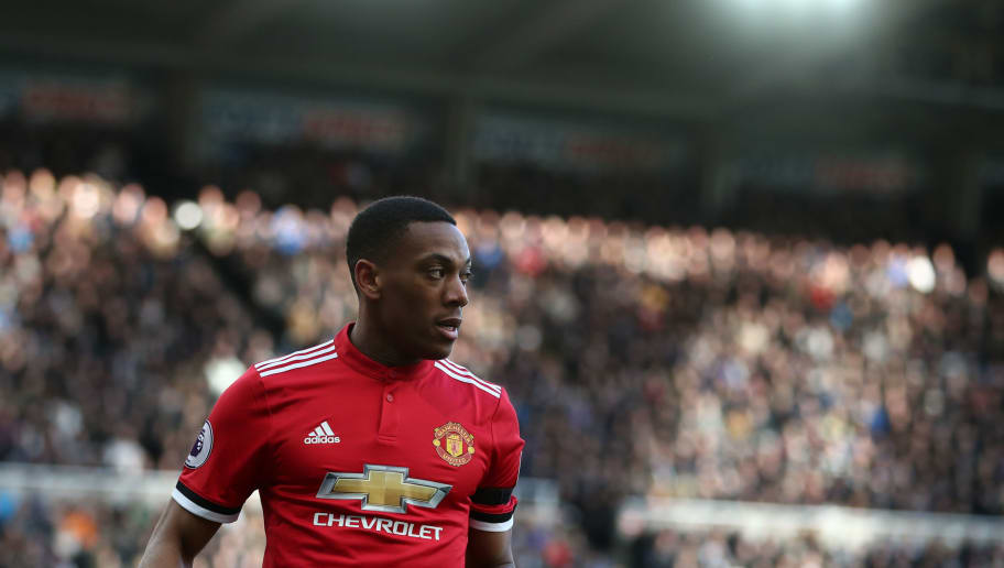 NEWCASTLE UPON TYNE, ENGLAND - FEBRUARY 11: Anthony Martial of Manchester United during the Premier League match between Newcastle United and Manchester United at St. James Park on February 11, 2018 in Newcastle upon Tyne, England. (Photo by Catherine Ivill/Getty Images)