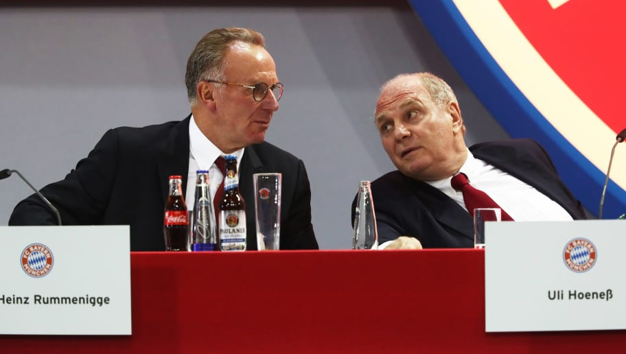 MUNICH, GERMANY - NOVEMBER 24:   Karl-Heinz Rummenigge, CEO of FC Bayern Munich chats to Uli Hoeness President of FC Bayern Muenchen during the FC Bayern Muenchen Annual General Assembly at Audi-Dome on November 24, 2017 in Munich, Germany.  (Photo by Alexander Hassenstein/Bongarts/Getty Images)