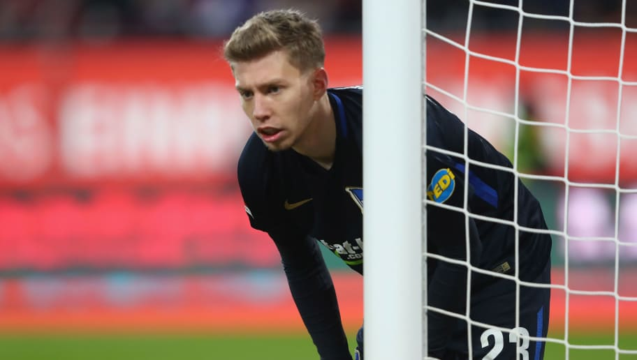 AUGSBURG, GERMANY - DECEMBER 10:  Mitchell Weiser  of Berlin looks on  during the Bundesliga match between FC Augsburg and Hertha BSC at WWK-Arena on December 10, 2017 in Augsburg, Germany.  (Photo by Alexander Hassenstein/Bongarts/Getty Images)
