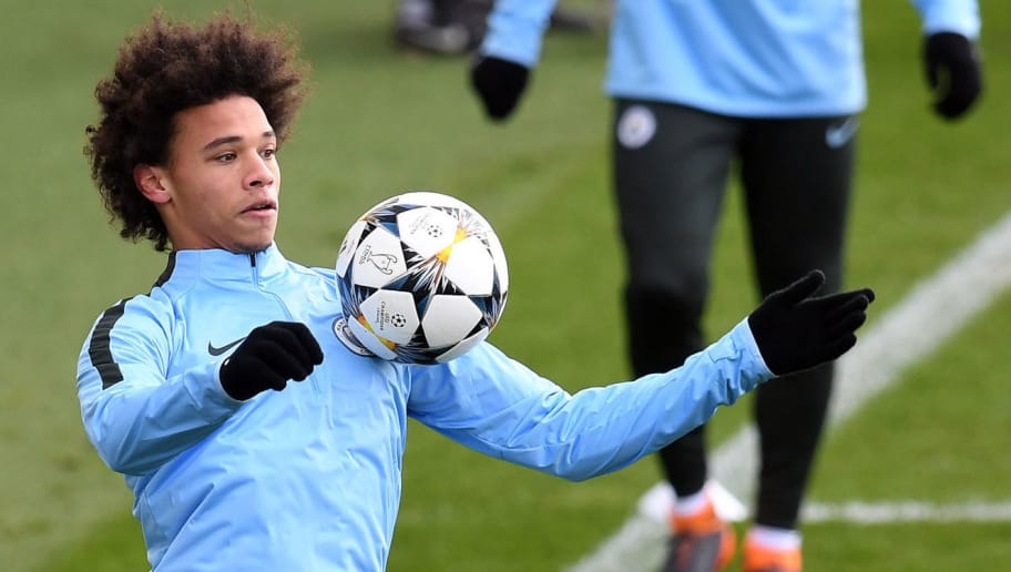 Manchester City's German midfielder Leroy Sane takes part in a training session in Manchester, north west England on February 12, 2018 on the eve of their Champions league match against Basel. / AFP PHOTO / PAUL ELLIS        (Photo credit should read PAUL ELLIS/AFP/Getty Images)