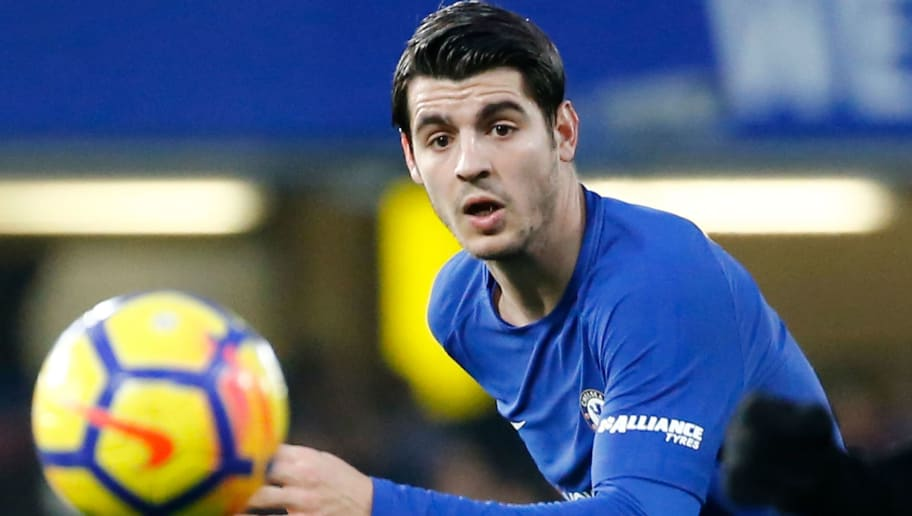Chelsea's Spanish striker Alvaro Morata eyes the ball during the English Premier League football match between Chelsea and Leicester City at Stamford Bridge in London on January 13, 2018. / AFP PHOTO / Tolga AKMEN / RESTRICTED TO EDITORIAL USE. No use with unauthorized audio, video, data, fixture lists, club/league logos or 'live' services. Online in-match use limited to 75 images, no video emulation. No use in betting, games or single club/league/player publications.  /         (Photo credit should read TOLGA AKMEN/AFP/Getty Images)