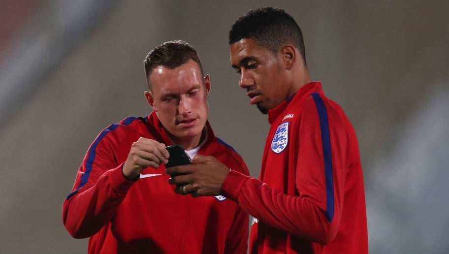 VALLETTA, MALTA - AUGUST 31:  Phil Jones and Chris Smalling of England inspect the pitch on the eve of the World Cup qualifying match against Malta at Ta'Qali National Stadium on August 31, 2017 in Valletta, Malta.  (Photo by Julian Finney/Getty Images)