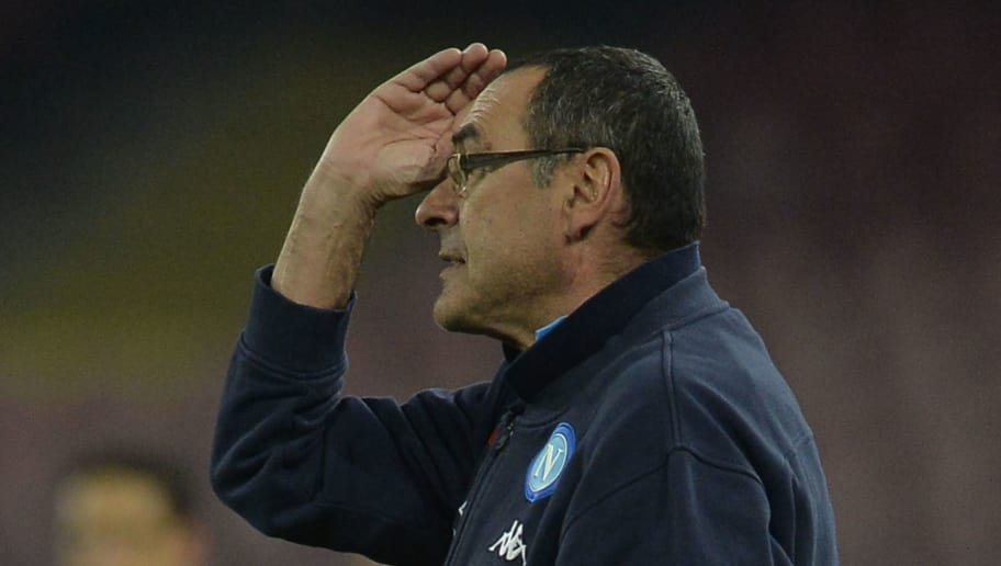 NAPLES, ROMA - FEBRUARY 10:  SSC Napoli head coach Maurizio Sarri during the serie A match between SSC Napoli and SS Lazio at Stadio San Paolo on February 10, 2018 in Naples, Italy.  (Photo by Marco Rosi/Getty Images)