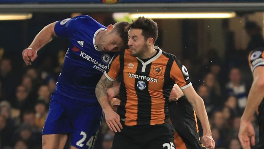 LONDON, ENGLAND - JANUARY 22:  Ryan Mason of Hull City and Gary Cahill of Chelsea collide during the Premier League match between Chelsea and Hull City at Stamford Bridge on January 22, 2017 in London, England.  (Photo by Richard Heathcote/Getty Images)