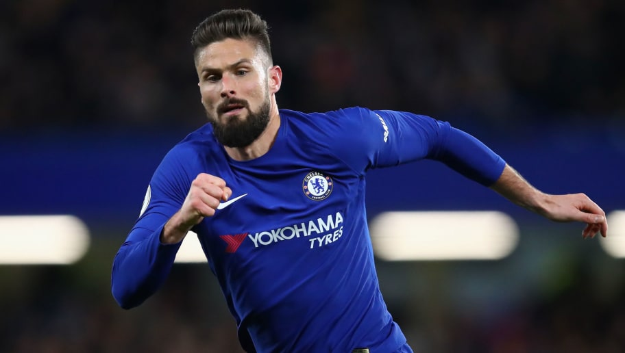 LONDON, ENGLAND - FEBRUARY 12:  Olivier Giroud of Chelsea looks on during the Premier League match between Chelsea and West Bromwich Albion at Stamford Bridge on February 12, 2018 in London, England.  (Photo by Julian Finney/Getty Images)
