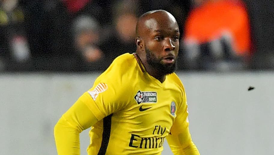 Paris Saint-Germain's French midfielder Lassana Diarra runs with the ball during the French League Cup football semi-final match between Rennes and Paris Saint-Germain at the Roazhon Park stadium in Rennes on January 30, 2018. / AFP PHOTO / LOIC VENANCE        (Photo credit should read LOIC VENANCE/AFP/Getty Images)