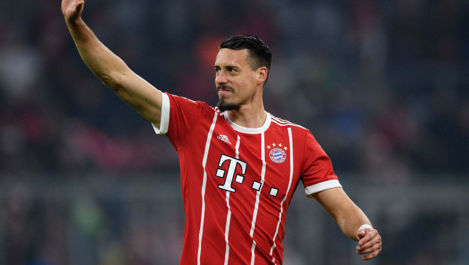 MUNICH, GERMANY - JANUARY 27: Sandro Wagner of FC Bayern Muenchen waves to the fans after the Bundesliga match between FC Bayern Muenchen and TSG 1899 Hoffenheim at Allianz Arena on January 27, 2018 in Munich, Germany. (Photo by Matthias Hangst/Bongarts/Getty Images)