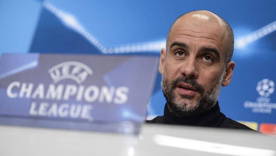 Manchester City's Spanish coach Pep Guardiola speaks during a press conference on February 12, 2018, in Basel, on the eve of their UEFA Champions League match against Basel. / AFP PHOTO / SEBASTIEN BOZON        (Photo credit should read SEBASTIEN BOZON/AFP/Getty Images)