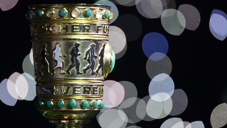 GELSENKIRCHEN, GERMANY - FEBRUARY 07:  The DFB Pokal trophy is seen during the DFB Pokal quarter final match between FC Schalke 04 and VfL Wolfsburg at Veltins-Arena on February 7, 2018 in Gelsenkirchen, Germany.  (Photo by Stuart Franklin/Bongarts/Getty Images)