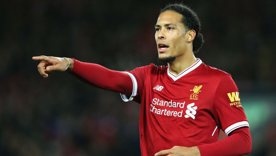 LIVERPOOL, ENGLAND - JANUARY 27:  Virgil van Dijk of Liverpool reacts during The Emirates FA Cup Fourth Round match between Liverpool and West Bromwich Albion at Anfield on January 27, 2018 in Liverpool, England.  (Photo by Alex Livesey/Getty Images)