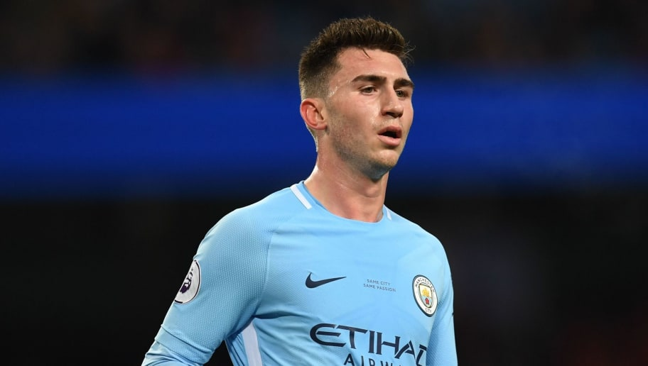 Manchester City's French defender Aymeric Laporte is pictured during the English Premier League football match between Manchester City and Leicester City at the Etihad Stadium in Manchester, north west England, on February 10, 2018. / AFP PHOTO / Paul ELLIS / RESTRICTED TO EDITORIAL USE. No use with unauthorized audio, video, data, fixture lists, club/league logos or 'live' services. Online in-match use limited to 75 images, no video emulation. No use in betting, games or single club/league/player publications.  /         (Photo credit should read PAUL ELLIS/AFP/Getty Images)
