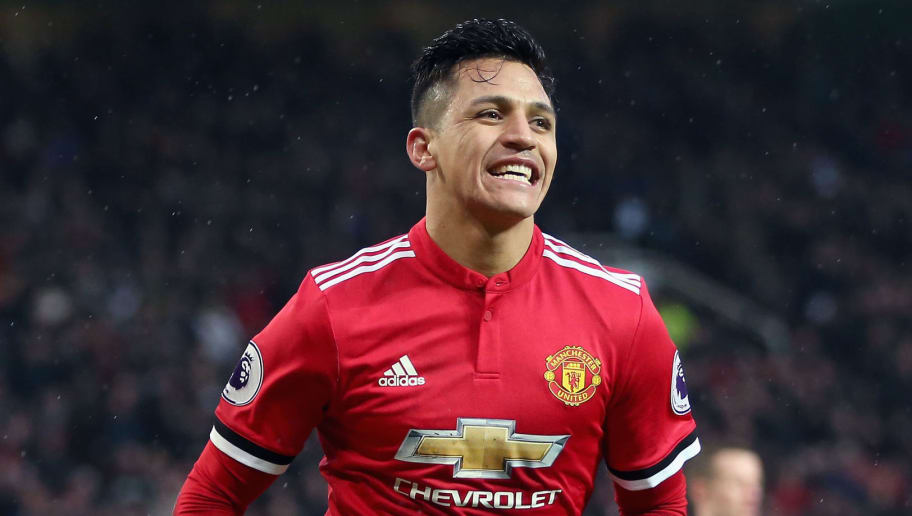 MANCHESTER, ENGLAND - FEBRUARY 03:  Alexis Sanchez of Manchester United celebrates after scoring his sides second goal during the Premier League match between Manchester United and Huddersfield Town at Old Trafford on February 3, 2018 in Manchester, England.  (Photo by Alex Morton/Getty Images)