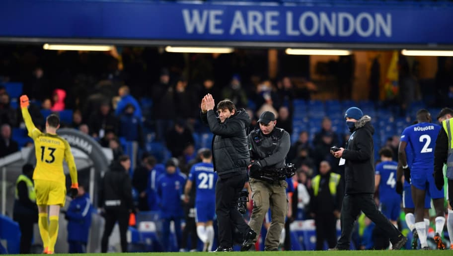 Chelsea's Italian head coach Antonio Conte applauds at the end of the English Premier League football match between Chelsea and West Bromwich Albion at Stamford Bridge in London on February 12, 2018. / AFP PHOTO / Ben STANSALL / RESTRICTED TO EDITORIAL USE. No use with unauthorized audio, video, data, fixture lists, club/league logos or 'live' services. Online in-match use limited to 75 images, no video emulation. No use in betting, games or single club/league/player publications.  /         (Photo credit should read BEN STANSALL/AFP/Getty Images)