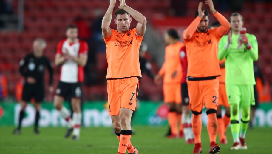 SOUTHAMPTON, ENGLAND - FEBRUARY 11: James Milner of Liverpool shows appreciation to the fans after the Premier League match between Southampton and Liverpool at St Mary's Stadium on February 11, 2018 in Southampton, England.  (Photo by Julian Finney/Getty Images)