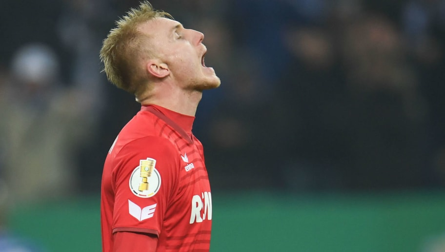 Cologne's Danish defender Frederik Soerensen reacts during the German football Cup DFB Pokal round of sixteen match FC Schalke 04 vs FC Cologne in Gelsenkirchen, western Germany, on December 19, 2017.  / AFP PHOTO / Patrik STOLLARZ / RESTRICTIONS: ACCORDING TO DFB RULES IMAGE SEQUENCES TO SIMULATE VIDEO IS NOT ALLOWED DURING MATCH TIME. MOBILE (MMS) USE IS NOT ALLOWED DURING AND FOR FURTHER TWO HOURS AFTER THE MATCH. == RESTRICTED TO EDITORIAL USE == FOR MORE INFORMATION CONTACT DFB DIRECTLY AT +49 69 67880   /         (Photo credit should read PATRIK STOLLARZ/AFP/Getty Images)