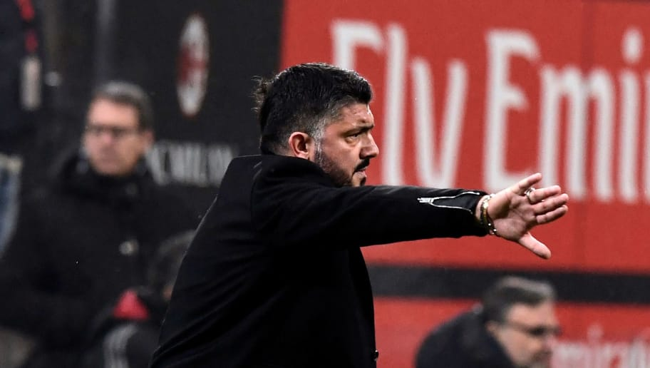 AC Milan's Italian coach Gennaro Gattuso gestures during the Italian Serie A football match between AC Milan and Lazio at the San Siro stadium in Milan on January 31, 2018. / AFP PHOTO / MIGUEL MEDINA        (Photo credit should read MIGUEL MEDINA/AFP/Getty Images)