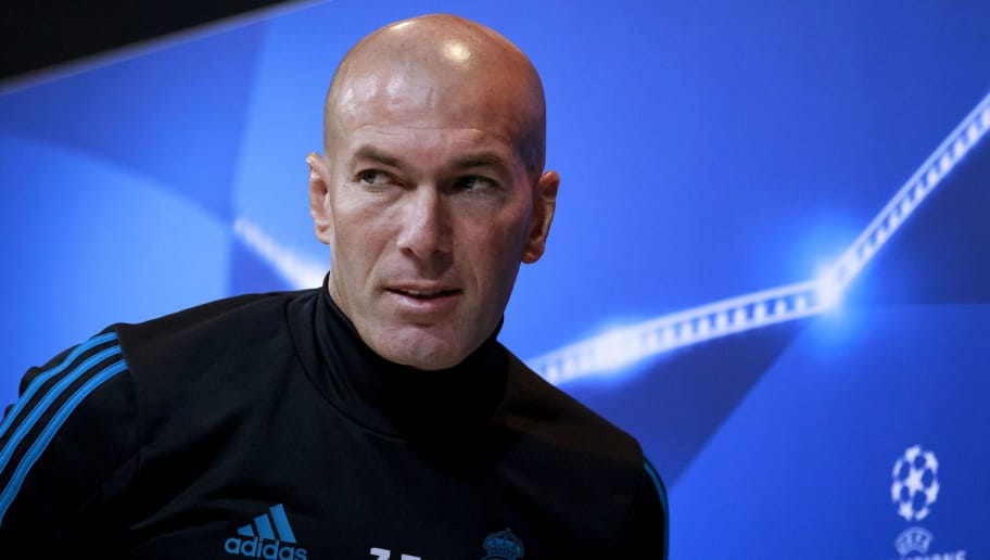 MADRID, SPAIN - FEBRUARY 13:  Head coach Zinedine Zidane of Real Madrid CF attends a press conference at Valdebebas training ground ahead their Round of 16 first leg UEFA Champions League match against Paris Saint-Germain Football Club  on February 13, 2018 in Madrid, Spain.  (Photo by Gonzalo Arroyo Moreno/Getty Images)