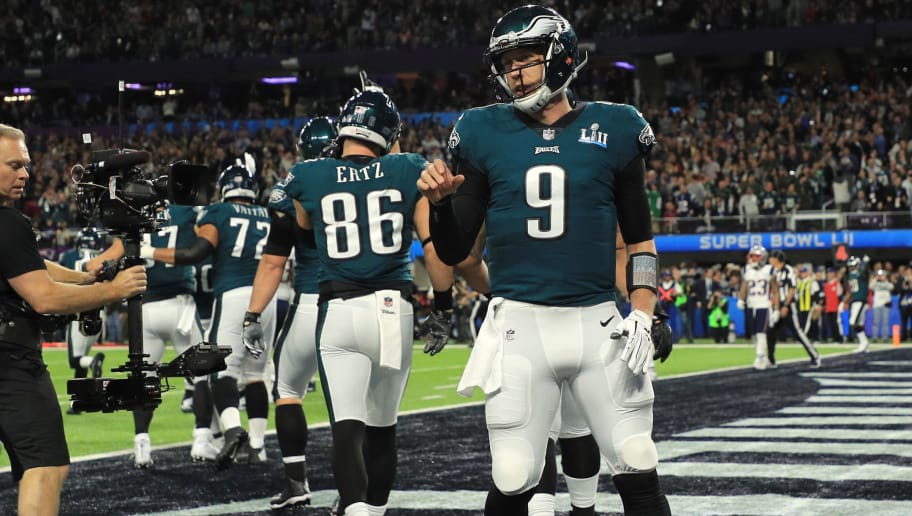 MINNEAPOLIS, MN - FEBRUARY 04:  Nick Foles #9 of the Philadelphia Eagles reacts after a 1-yard touchdown reception against the New England Patriots during the second quarter in Super Bowl LII at U.S. Bank Stadium on February 4, 2018 in Minneapolis, Minnesota.  (Photo by Mike Ehrmann/Getty Images)
