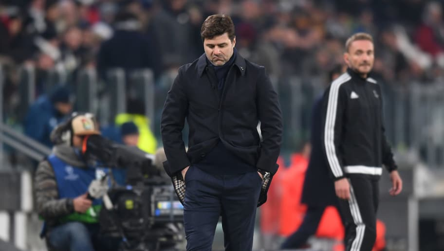 TURIN, ITALY - FEBRUARY 13: Mauricio Pochettino, Manager of Tottenham Hotspur reacts during the UEFA Champions League Round of 16 First Leg  match between Juventus and Tottenham Hotspur at Allianz Stadium on February 13, 2018 in Turin, Italy.  (Photo by Michael Regan/Getty Images)
