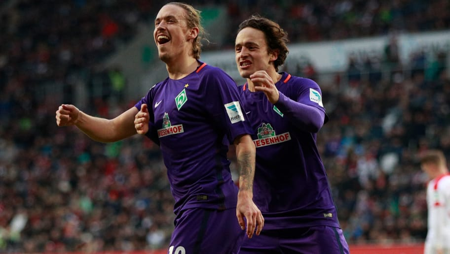 AUGSBURG, GERMANY - FEBRUARY 05:  Max Kruse of Bremen celebrates scoring the penalty with Thomas Delaney during the Bundesliga match between FC Augsburg and Werder Bremen at WWK Arena on February 5, 2017 in Augsburg, Germany.  (Photo by Adam Pretty/Bongarts/Getty Images)