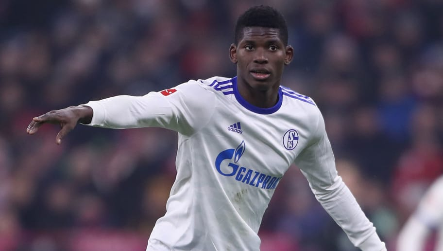 MUNICH, GERMANY - FEBRUARY 10:  Breel Embolo of Schalke reacts the ball during the Bundesliga match between FC Bayern Muenchen and FC Schalke 04 at Allianz Arena on February 10, 2018 in Munich, Germany.  (Photo by Alex Grimm/Bongarts/Getty Images)