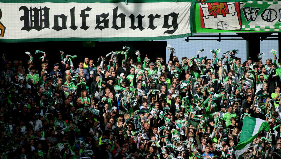WOLFSBURG, GERMANY - SEPTEMBER 09: Wolfsburg Fans are are pictured during the Bundesliga match between VfL Wolfsburg and Hannover 96 at Volkswagen Arena on September 9, 2017 in Wolfsburg, Germany. (Photo by Selim Sudheimer/Bongarts/Getty Images)