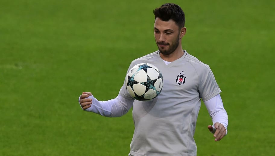 Besiktas' midfielder Tolgay Arslan plays with a ball during a training session on the eve of the UEFA Champions League Group G football match FC Porto vs Besiktas at the Dragao stadium in Porto, on September 12, 2017. / AFP PHOTO / MIGUEL RIOPA        (Photo credit should read MIGUEL RIOPA/AFP/Getty Images)