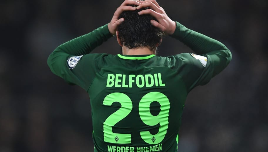 BREMEN, GERMANY - DECEMBER 20:  Ishak Belfodil of Bremen reacts during the DFB Cup match between Werder Bremen and SC Freiburg at Weserstadion on December 20, 2017 in Bremen, Germany.  (Photo by Stuart Franklin/Bongarts/Getty Images)