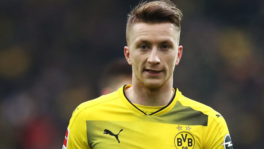 DORTMUND, GERMANY - FEBRUARY 10:  Marco Reus of Dortmund in action during the Bundesliga match between Borussia Dortmund and Hamburger SV at Signal Iduna Park on February 10, 2018 in Dortmund, Germany.  (Photo by Oliver Hardt/Bongarts/Getty Images)