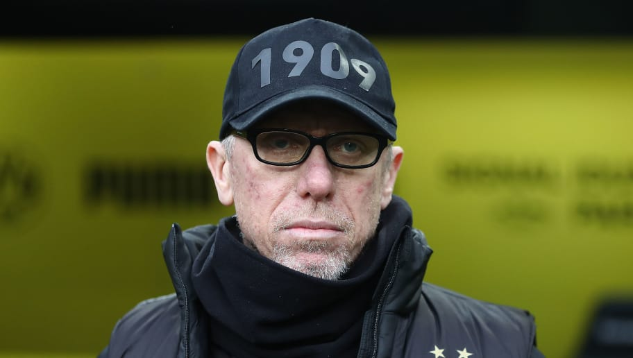 DORTMUND, GERMANY - FEBRUARY 10: Peter Stoeger, coach of Dortmund, looks on before the Bundesliga match between Borussia Dortmund and Hamburger SV at Signal Iduna Park on February 10, 2018 in Dortmund, Germany. (Photo by Oliver Hardt/Bongarts/Getty Images)