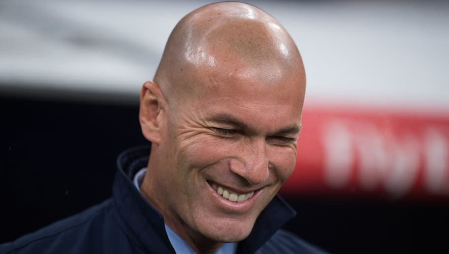 MADRID, SPAIN - NOVEMBER 28: Head coach Zinedine Zidane of Real Madrid CF smiles before the Copa del Rey, Round of 32, Second Leg match between Real Madrid and Fuenlabrada at Estadio Santiago Bernabeu on November 28, 2017 in Madrid, Spain. (Photo by Denis Doyle/Getty Images)